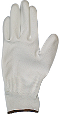 EM-Tec ESD safe PU coated knitted nylon gloves, white, size M, pair