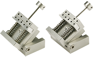 EM-Tec VS12-T compact spring-loaded vise for up to 12mm with 0-90 degrees tilt, pin