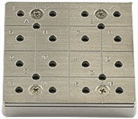 EM-Tec CS16/4 C-Square multi pin stub holder for 16x Ø12.7mm or 4 x Ø25.4mm pin stubs, pin