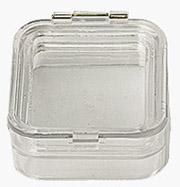 Micro-Tec M22 clear plastic membrane box, hinged,  50x50x25mm
