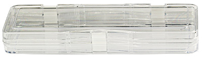 Micro-Tec M43A clear plastic membrane box, hinged,  240x75x30mm
