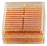 Micro-Tec DB5 reusable desiccant box with orange indicating silica gel, 55x55x27mm