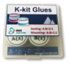 K-kit glue box with Torr Seal glue set and epoxy mounting glue set