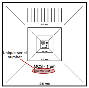 EM-Tec MCS-1TR traceable magnification calibration standard, 2.5mm to 1µm