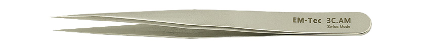 Swiss made EM-Tec 3C.AM high precision tweezers, style 3C, short, very sharp fine tips, anti-magnetic stainless steel.