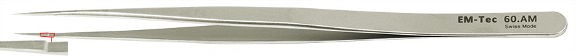EM-Tec 60.AM high precision slim tweezers, style 60, very fine sharp tips, anti-magnetic stainless steel