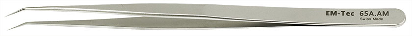EM-Tec 65A.AM high precision slim tweezers, style 65A, sharp bent tips, anti-magnetic stainless steel