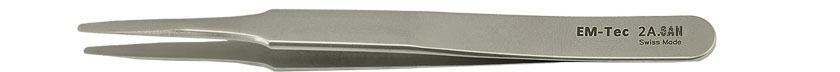 EM-Tec 2A.SAN high precision super alloy tweezers, style 2A, flat accurate round tips, fully non-magnetic