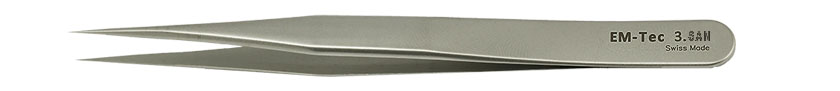 EM-Tec 3.SAN high precision super alloy tweezers, style 3, very sharp fine tips, fully non-magnetic