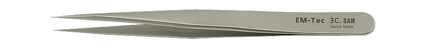EM-Tec 3C.TI high precision super allow tweezers, style 3C, short, very sharp fine tips, titanium