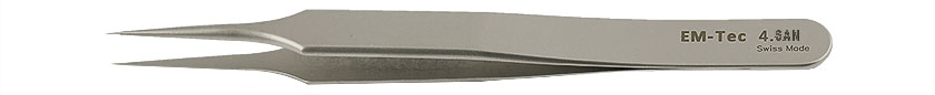 EM-Tec 4.SAN high precision super alloy tweezers, style 4, very fine sharp tips, fully non-magnetic