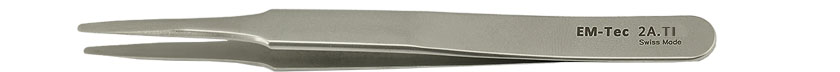 EM-Tec 2A.TI high precision tweezers, style 2A, flat accurate round tips tips, titanium
