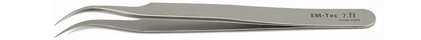 EM-Tec 7.TI high precision tweezers, style 7, very fine curved tips, titanium