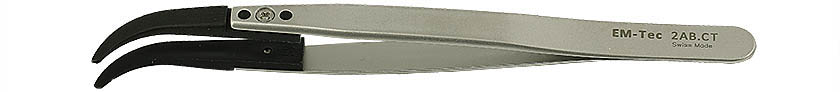 EM-Tec 2AB.CT ESD safe carbon fiber replaceable tip tweezers, flat wide curved tips