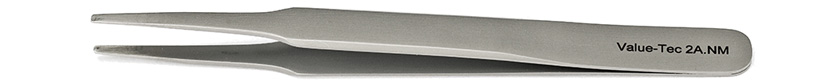 Value-Tec 2A.NM general purpose tweezers, style 2A, flat round tips, non-magnetic stainless steel