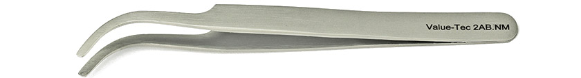 Value-Tec 2AB.NM general purpose tweezers, style 2AB, curved flat round tips, non-magnetic stainless steel