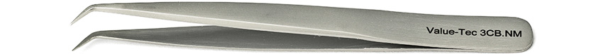 Value-Tec 3CB.NM general purpose tweezers, style 3CB, shorter, bent, fine, strong, pointed tips, non-magnetic stainless steel