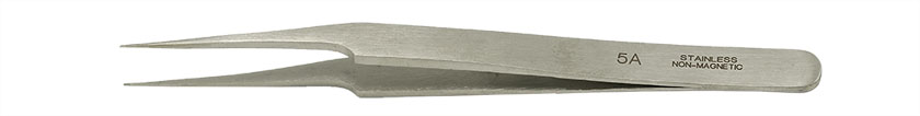 Value-Tec 5A.NM general purpose tweezers, style 5A, off-set finepointed tips, non-magnetic stainless steel