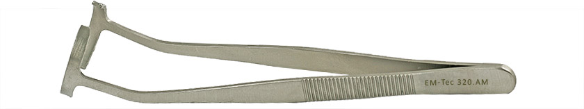 EM-Tec 320.AM SEM stub gripper tweezers for Ø32mm cylinder stubs, anti-magnetic stainless steel