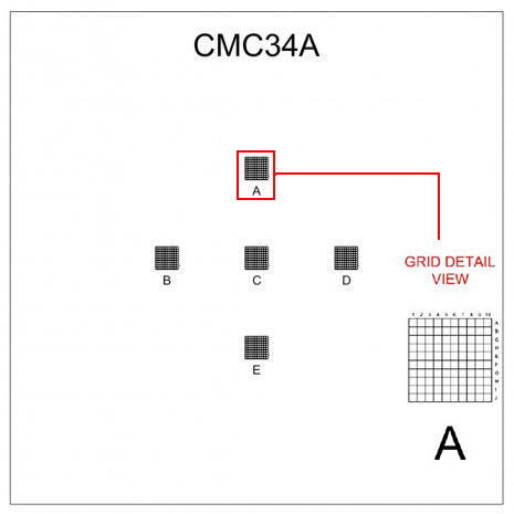CMC34A correlative coverslips 5 x 1x1mm with 0.1mm divisions