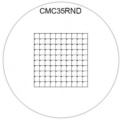 CMC35RND correlative coverslips 10x10mm with 1mm divisions, Ø 18mm