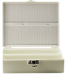 Micro-Tec M100WL tall slide storage box for 100 large 75x50mm slides, white