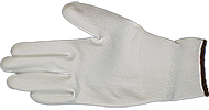 EM-Tec ESD safe PU coated knitted nylon gloves, white, size L, pair