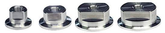EM-Tec KF vacuum flange adapters to 1/4inch NPT female thread, aluminium